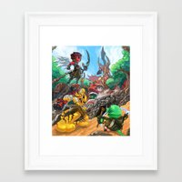 fight Framed Art Prints featuring Fight by Jengslizer