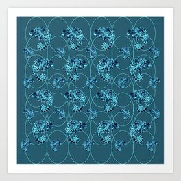 Chameleon Oneness in Midnight Vintage Psychedelic Blue Space Art Print