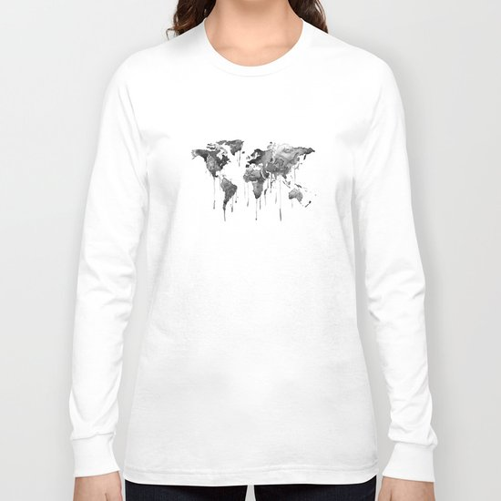 World map 2, black and white Long Sleeve T-shirt