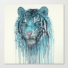 Blue Tiger Drip Canvas Print