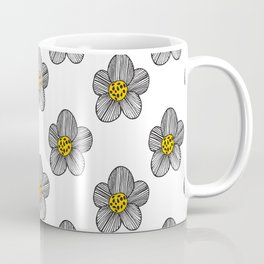 Mod Striped Flower Illustrated Pattern in Black, White, and Yellow Coffee Mug