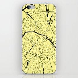 Paris France Minimal Street Map - Yellow on Black iPhone Skin
