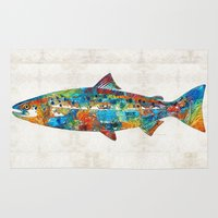 spawn Area & Throw Rugs featuring Fish Art Print - Colorful Salmon - By Sharon Cummings by Sharon Cummings