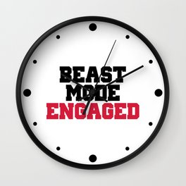 Beast Mode Engaged Gym Quote Wall Clock