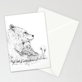 Mom and Baby Grizzly Bear Stationery Cards