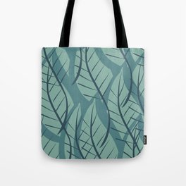Green Aqua Blue Leaf Pattern Deco Scandinavian Tote Bag