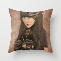 chocolate Throw Pillows featuring Chocolate by Sheena Pike ART