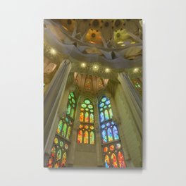 Stained Glass Sagrada Familia Metal Print