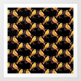Yellow Canary Bird Pattern Art Print