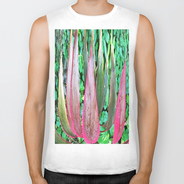 359 - Abstract Plant Design Biker Tank