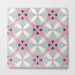 Geometric Floral Circles In Pink Green Cream & Black Metal Print