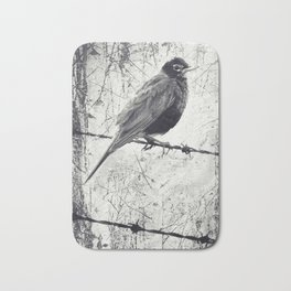American Robin Bird on Barbed Wire Fence Grunge Bath Mat