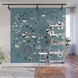 Etched Flowers Wall Mural