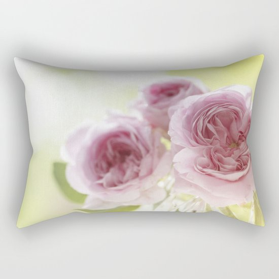 Pink Roses in crystal bowl - Vintage Stilllife- Rose Flower Rectangular Pillow