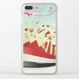 egypt background with flag and symbol Clear iPhone Case