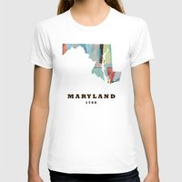 maryland T-shirts featuring Maryland state map modern by bri.buckley