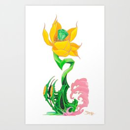 Green Diamond Mech Lotus Art Print