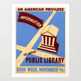 Vintage poster - Book Week Art Print