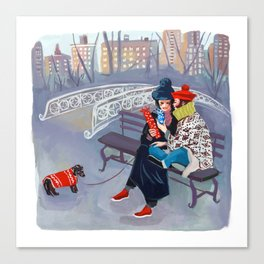 Exchanging Gifts in Central Park Canvas Print