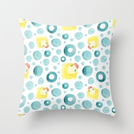 Watercolor hand drawn seamless pattern with a rubber duck Throw Pillow