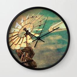 Rustic Windmill against Cloudy Sky A520 Wall Clock