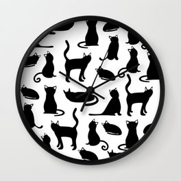Simple Black Cat Pattern Wall Clock
