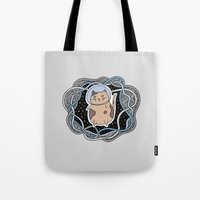 space cat Tote Bags featuring Space Cat by alliedrawsthings