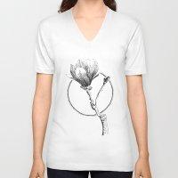 magnolia V-neck T-shirts featuring Magnolia by Sunali Narshai