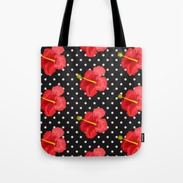 Red hibiscus and white dots Tote Bag