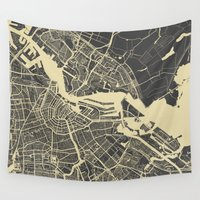 amsterdam Wall Tapestries featuring Amsterdam by Map Map Maps