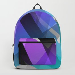 Transparent Abstract Geometric Shapes Purple and Teal Backpack