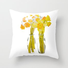 Daffodils watercolor Throw Pillow