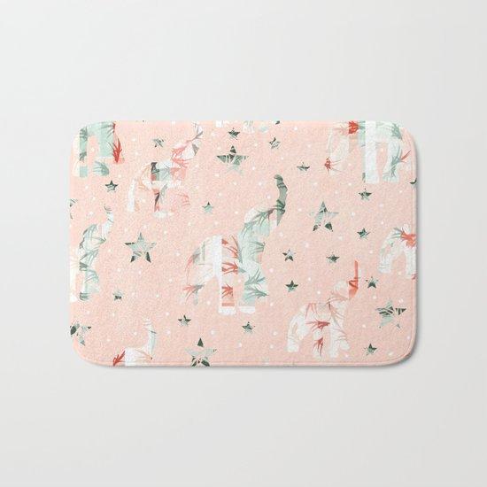 Pastel Tone Elephants Stars Pattern Bath Mat