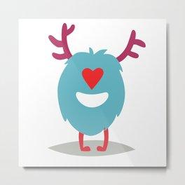 Emoji monster in love. Cute enamored cyclop vector illustration Metal Print