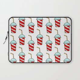 Takeaway soft drinks background with seamless pattern of red and white striped paper cups Laptop Sleeve