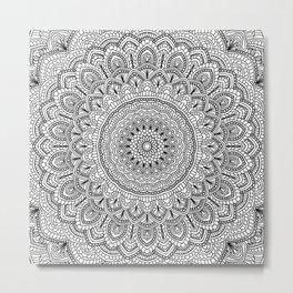 Black and white Lace mandala light Metal Print