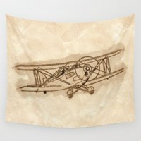 airplane Wall Tapestries featuring Airplane by LaDa