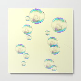 IRIDESCENT SOAP BUBBLES  ON YELLOW COLOR Metal Print