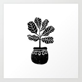 Fiddle Fig linocut house plant lino print black and white minimal art for office decor Art Print