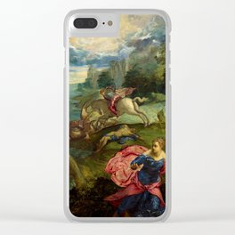"""Tintoretto (Jacopo Robusti) """"Saint George and the Dragon"""" Clear iPhone Case"""