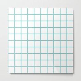 Aqua Grid Pattern Metal Print
