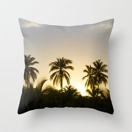 Tropical palm trees silhouette at Sunset Throw Pillow