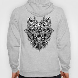 WOLF FACE TRADITIONAL BLACK AND WHITE Hoody