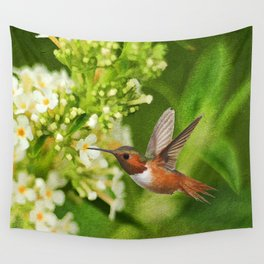 The Hummer and the Butterfly Bush Wall Tapestry