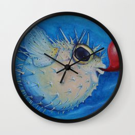 Puffer Fish with Red Balloon Wall Clock