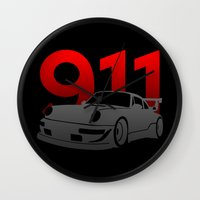 porsche Wall Clocks featuring Porsche 911 by Vehicle