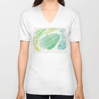 green pattern V-neck T-shirts featuring Green by Ana Guillén Fernández