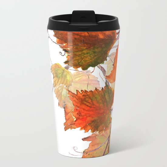 orange grapevine 2 Metal Travel Mug