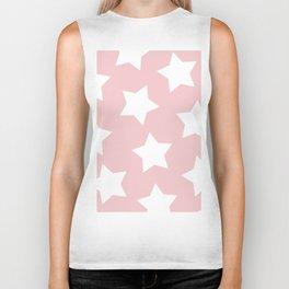 Happy Pink Star Print Biker Tank