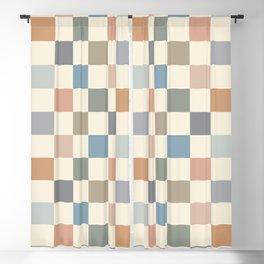 Blue & Beige Neutral Checker Blackout Curtain